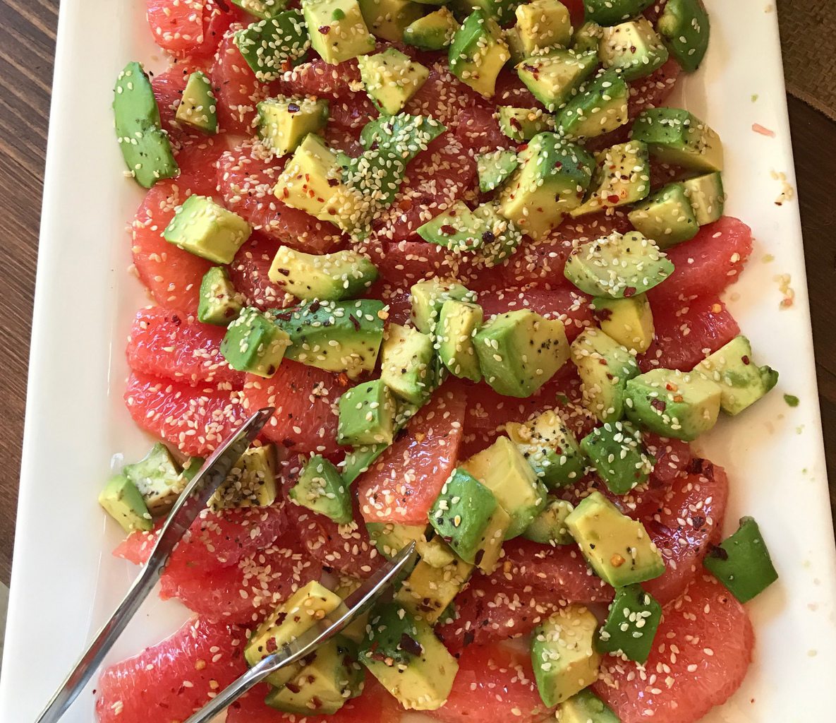 Avocados with Blood Oranges & Sesame Seeds