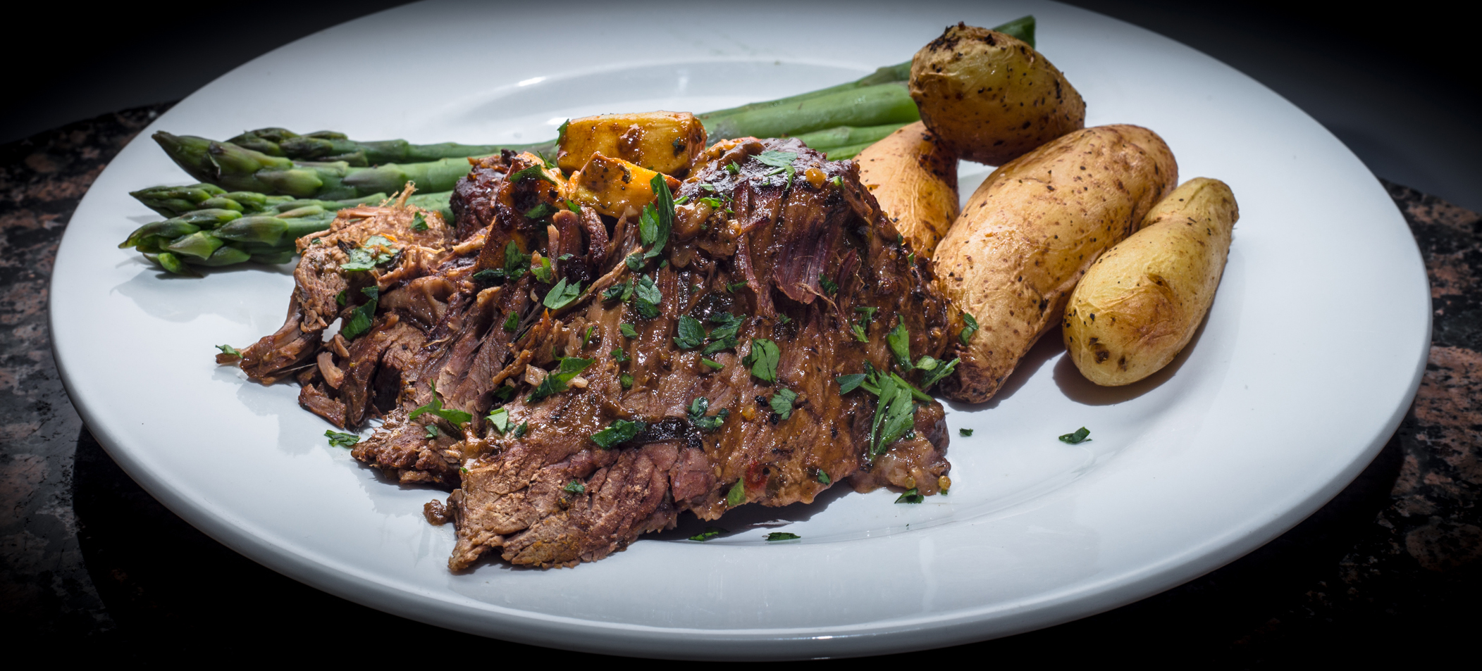 Beef Brisket with Asparagus & Fingerling Potatoes