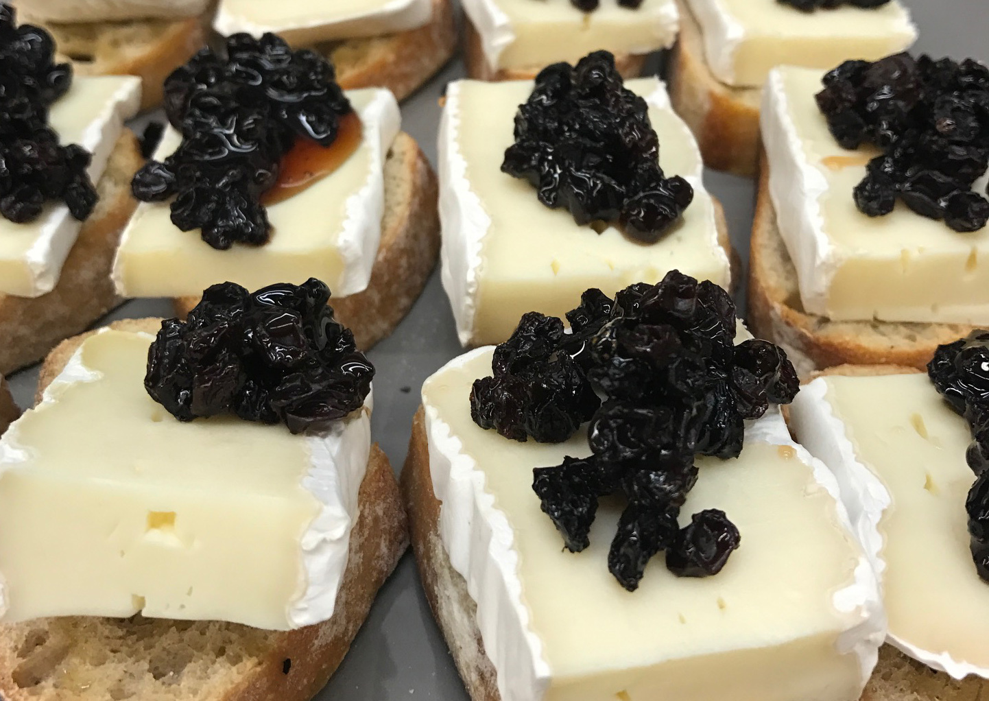 Blackcurrants and Brie on Crostinis